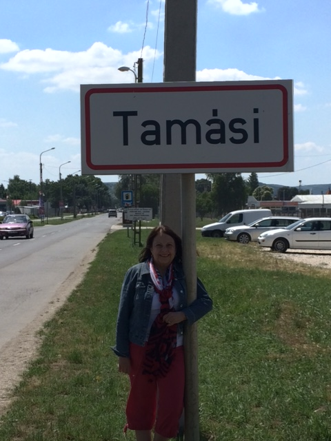 Here she is in her namesake town in Hungary. She was Cynthia Tamasy when I met her.