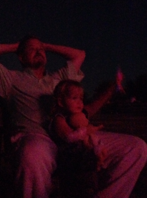 Norah and me in the glow of the fireworks...